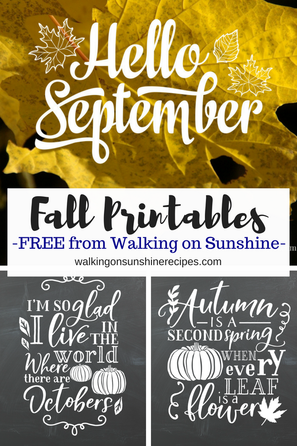 Two new Fall printables from Walking on Sunshine Recipes