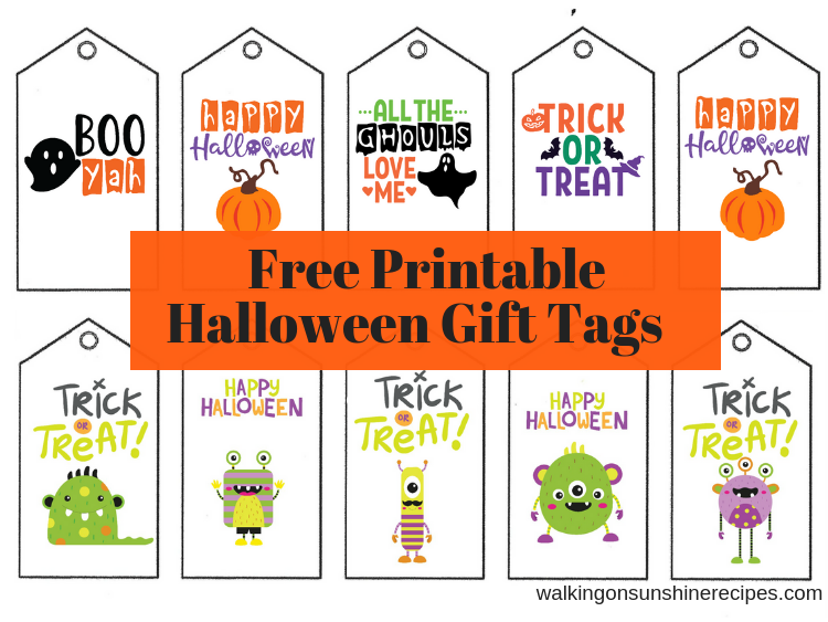 Traditional and Cute Monster Printable Halloween Gift Tags