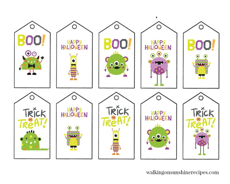 Cute Monster Printable Halloween Gift Tags