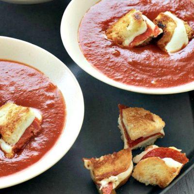 Italian Tomato Soup with Pizza-Grilled Cheese Croutons
