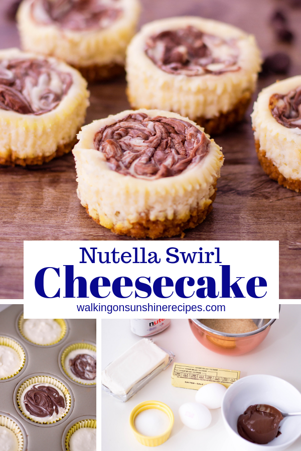 Mini Nutella Swirl Cheesecake Easy Recipe from Walking on Sunshine Recipes