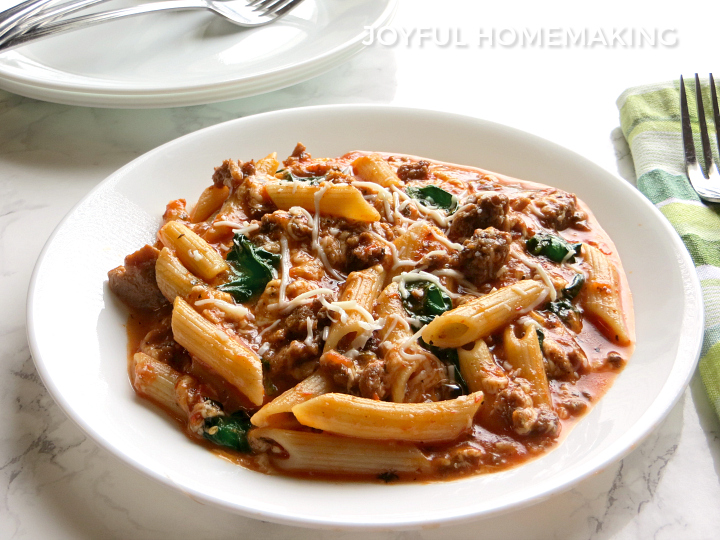 Beef and Spinach Pasta from Joyful Homemaking