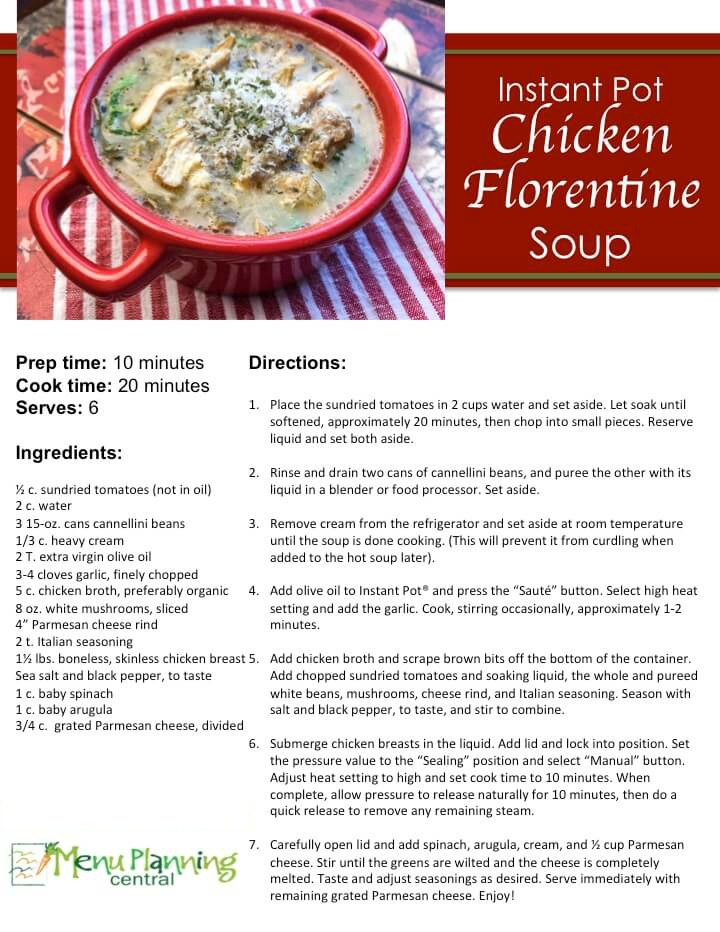 Chicken Florentine Soup Recipe Card Sample