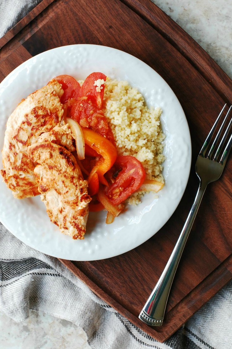 Chicken Rice and Tomato Medley on white plate from Eat at Home