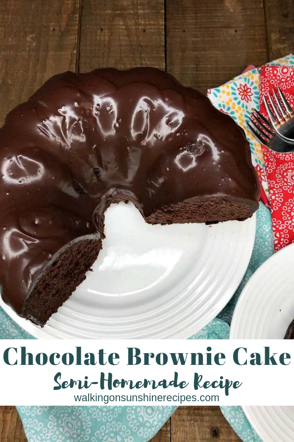 Chocolate Brownie Cake with Homemade Chocolate Glaze.