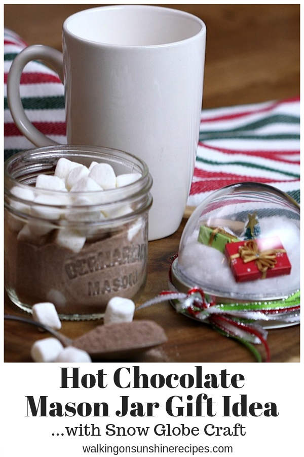 Mason Jar Hot Chocolate Snow Globes are a cute and fun way to give a homemade gift to family and friends this holiday season.