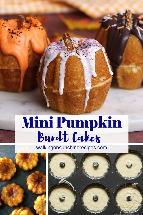Mini Pumpkin Bundt Cakes with drizzled chocolate and pretzel sticks for stems.