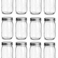 12 pcs, 16 oz Mason Glass Jars with Silver Lids