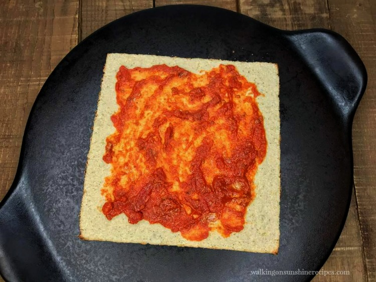 Marinara Sauce on cauliflower pizza crust.