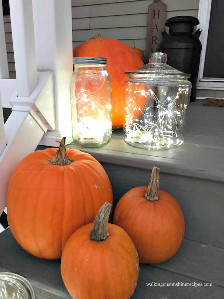 Closeup of Twinkle Lights for Fall Front Porch from Walking on Sunshine Recipes