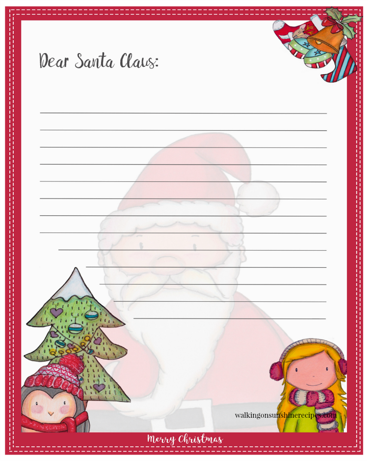Dear Santa Claus Printable with Penguin and Little Girl