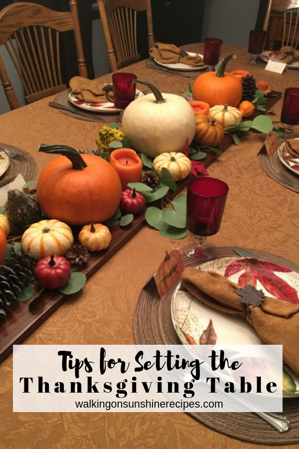 Easy last minute tips for decorating the Thanksgiving Table using pumpkins, gourds and fresh greenery.