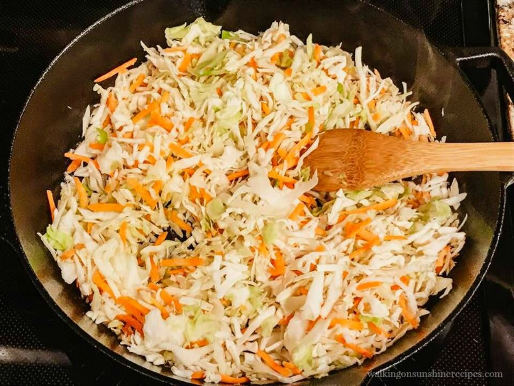 Add Cole Slaw Mixture to Cast Iron Pan for Air Fryer Wonton Appetizers