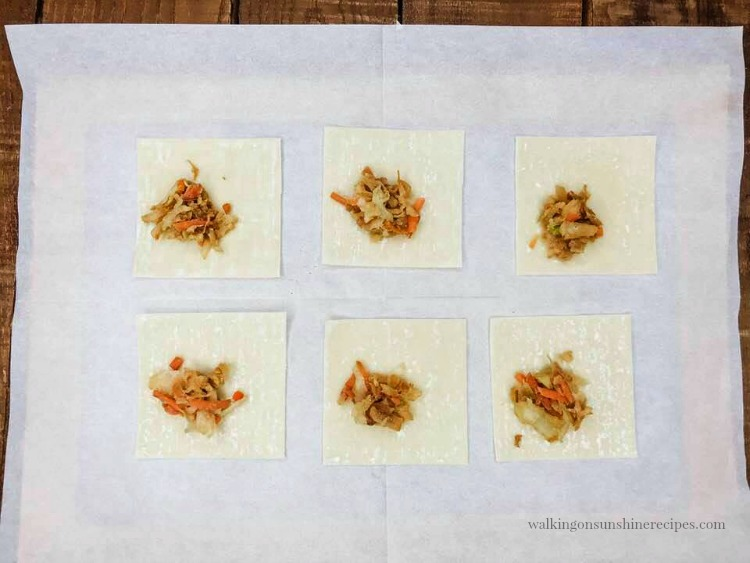 Add a spoonful of the Cole Slaw mixture to the wonton wrappers.