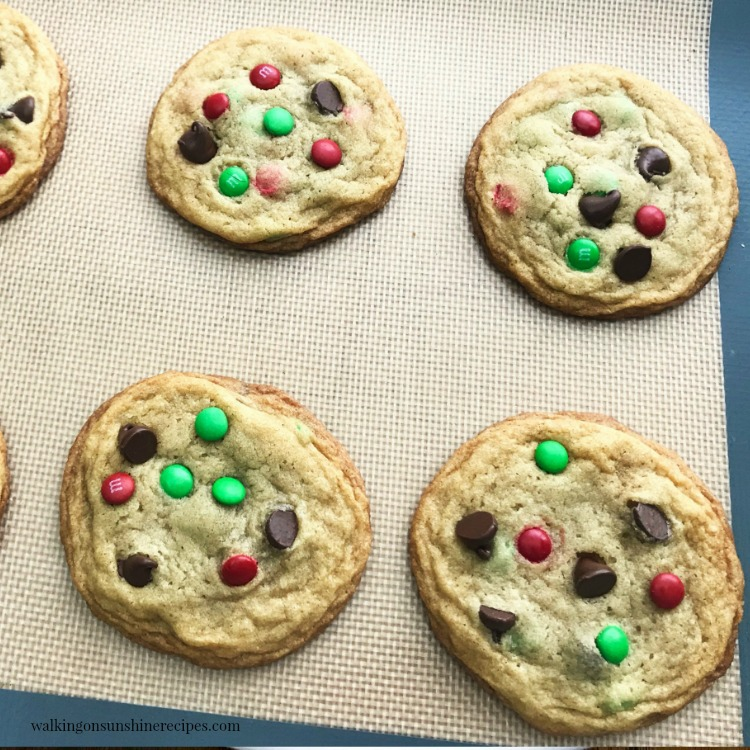 M&M Chocolate Chip Cookies cooling on baking tray.