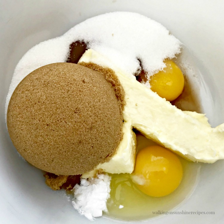 Brown Sugar, White Sugar, Butter and Eggs in Mixing Bowl