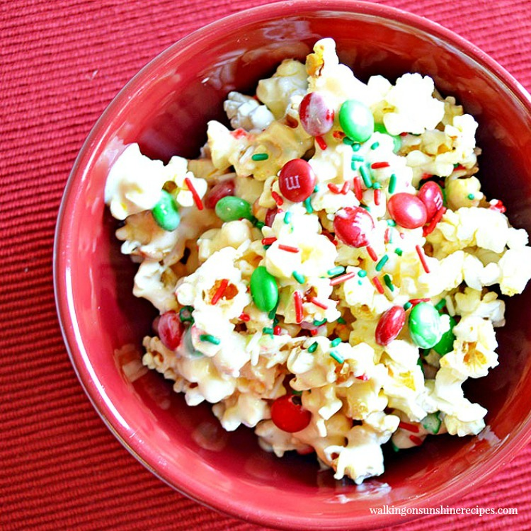 Sweet and Salty Candy Popcorn in red bowl.