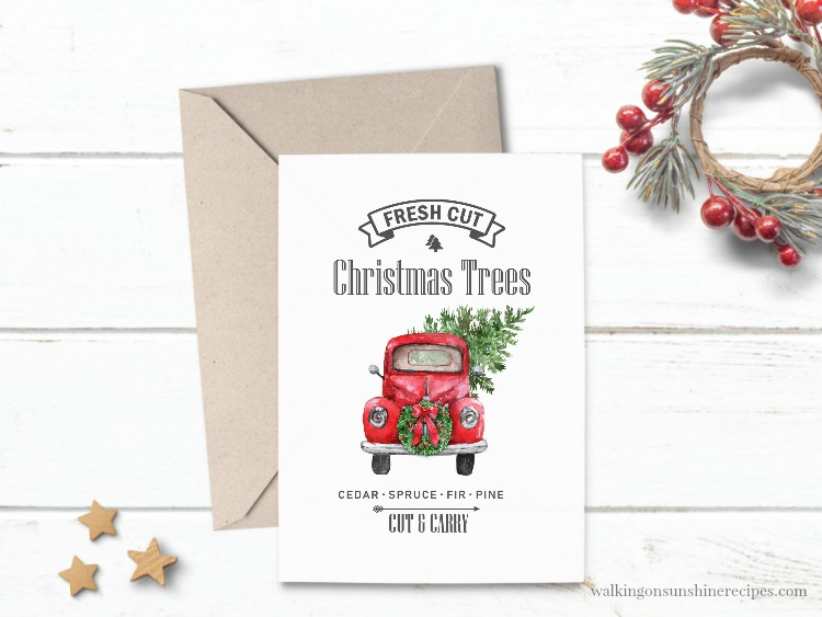 DAY #2 - Vintage Christmas Truck Printable
