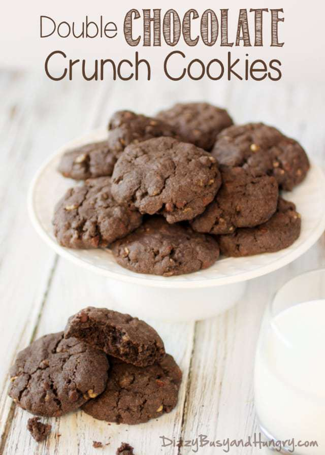 Double Chocolate Crunch Cookies from Dizzy Busy and Hungry