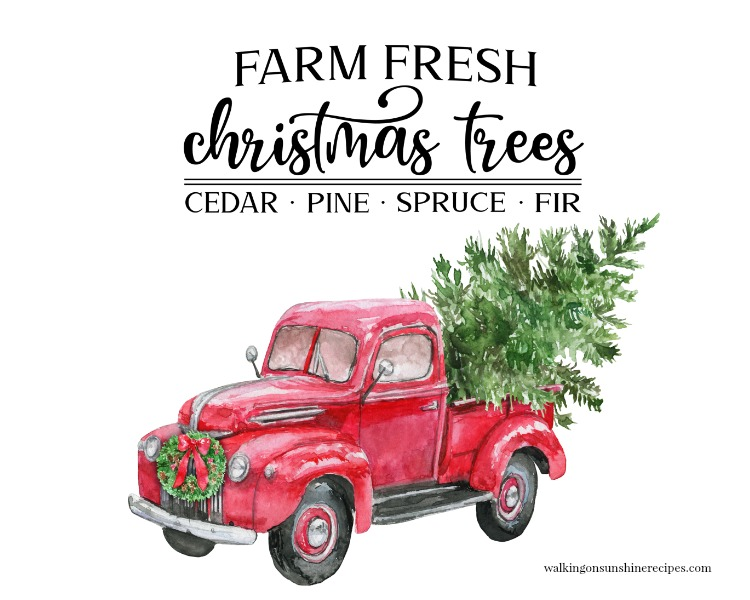 Christmas Truck Printable wide view with white background