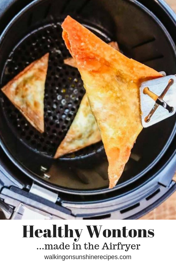 Air fryer wontons are not deep fried making them a healthier delicious and very crispy appetizer to enjoy for your next party or family get together.