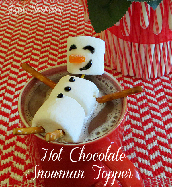 Hot Chocolate Marshmallow Snowman Topper from Joyful Homemaking