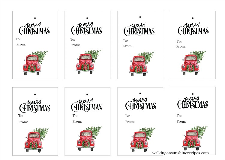 Red Truck Christmas Tree Gift Tags are FREE for you to print and use in all your holiday and Christmas gift-giving this year!