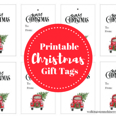 Red Truck Christmas Tree Gift Tags – Free Printable