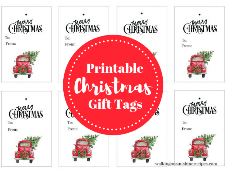 Red Truck Christmas Tree Gift Tags - Free Printable