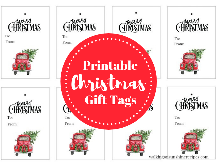 graphic about Printable Christmas Gift Tag referred to as Pink Truck Xmas Tree Reward Tags - Totally free Printable
