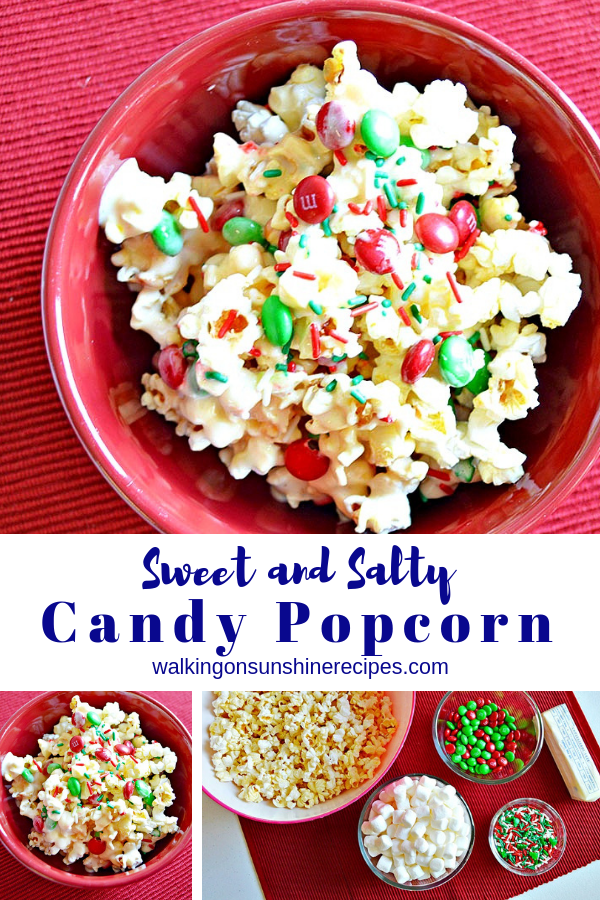 Sweet and Salty Candy Popcorn is the perfect treat for spending time with family over the holidays watching movies or playing board games!