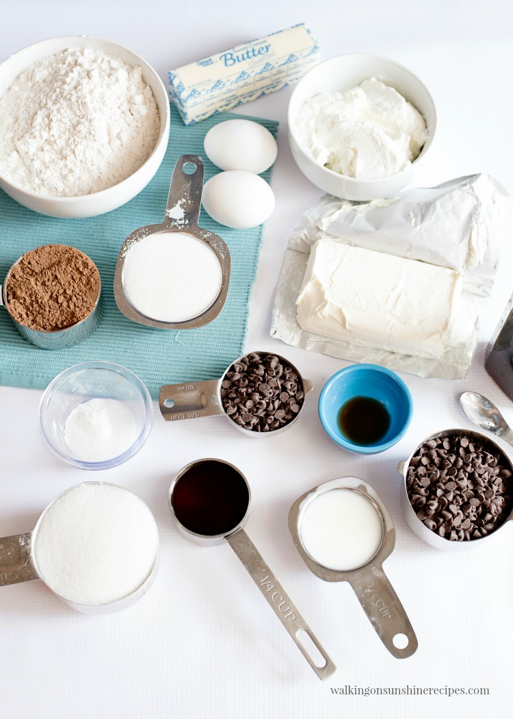 Ingredients for Cheesecake Chocolate Chip Muffins