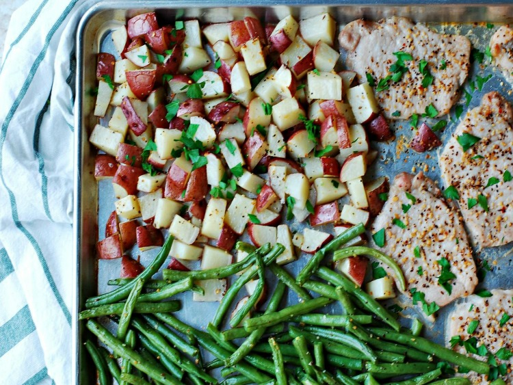 Pork Chops Red Potatoes Green Beans Sheet Pan Meal