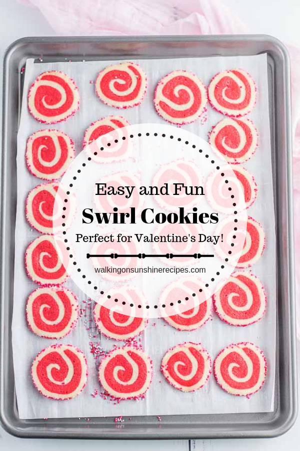 Valentine's Day Swirl Cookies on Baking Tray
