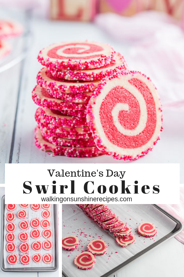 Valentine's Day Swirl Cookies | Red and White Pinwheel Cookies