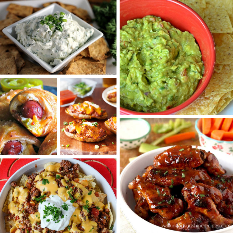Dips, nachos, wings and an assortment of Big Game Snack Recipes.