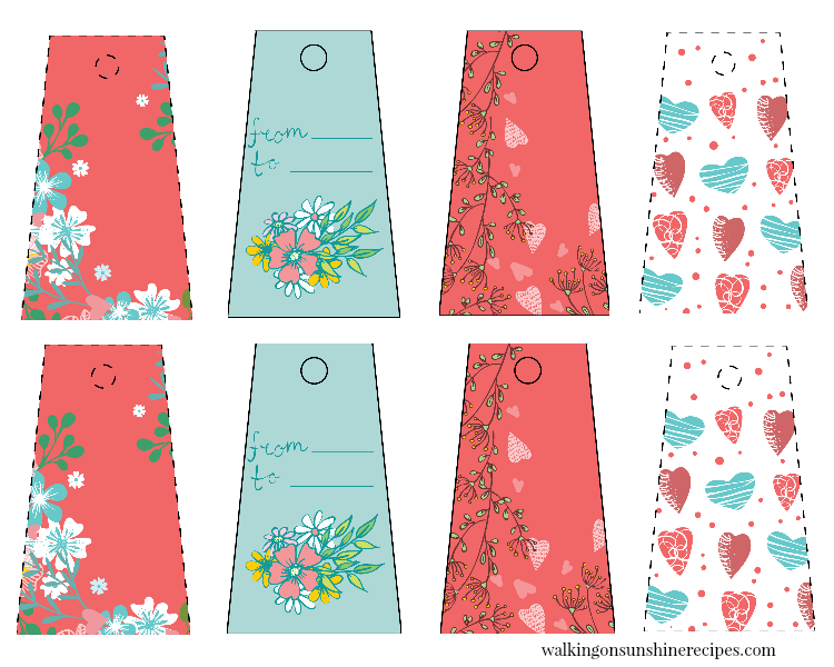 Floral Valentine's Day gift tags.