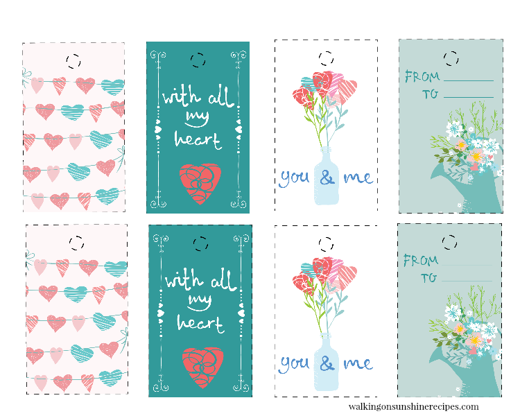 Floral hearts gift tags.
