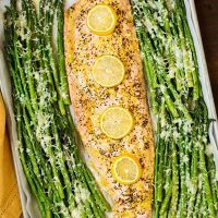 One Pan Roasted Lemon Pepper Salmon and Garlic Parmesan Asparagus