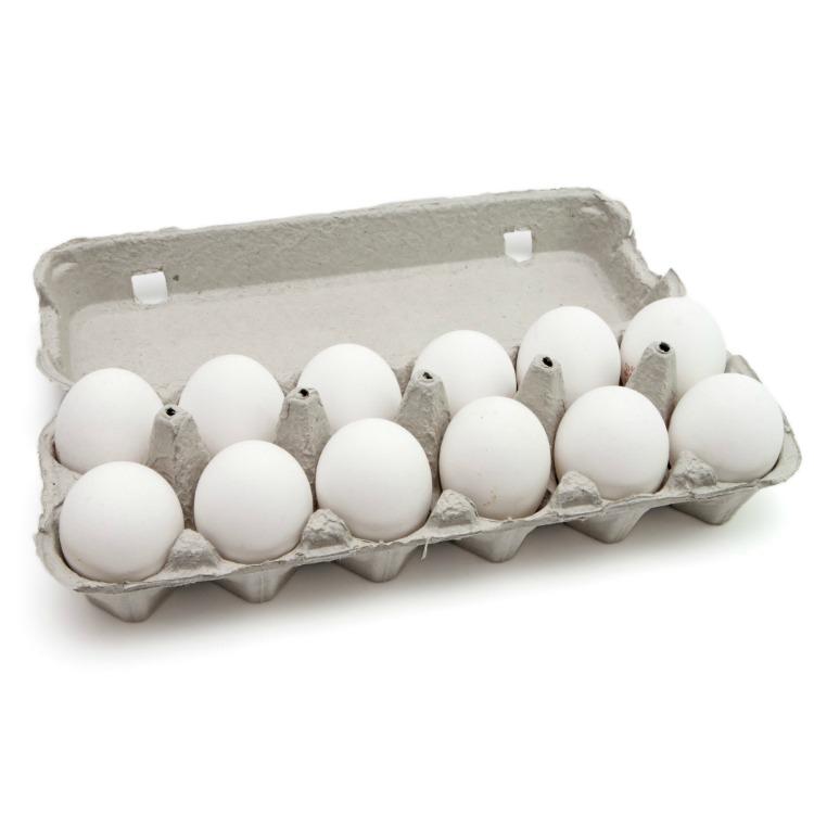 Dozen white eggs in carton