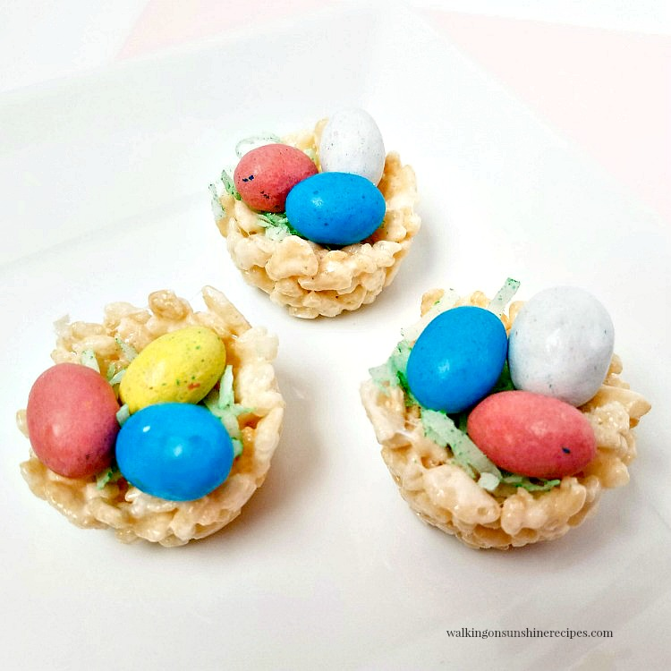 No Bake Rice Krispie Nests with chocolate candy eggs.