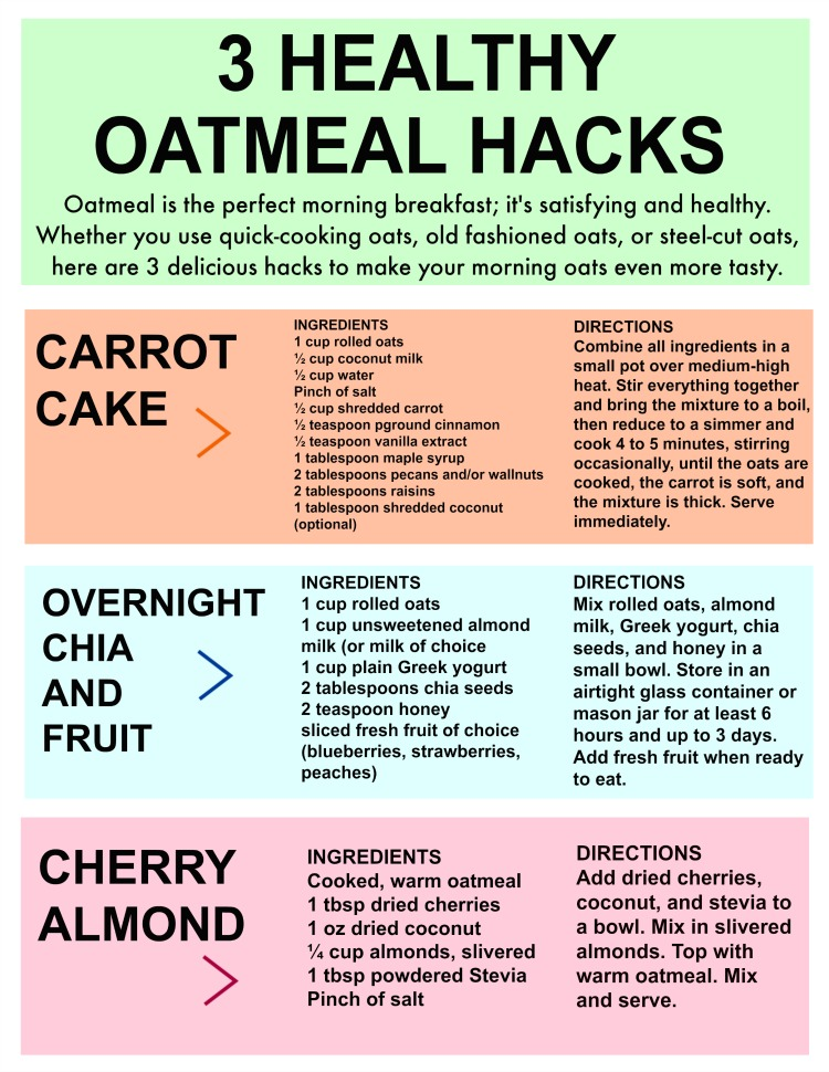 3 Healthy Oatmeal Hacks Printable