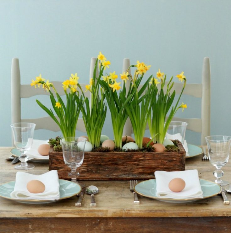 Spring Centerpieces with Blue Eggs & Daffodils
