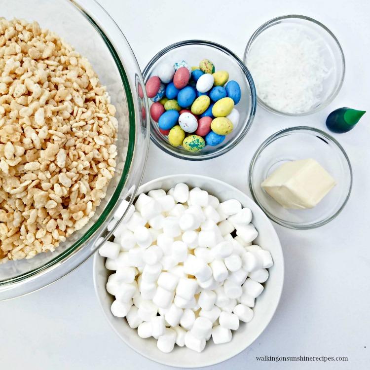 Ingredients for Easter Nest Krispies Treats