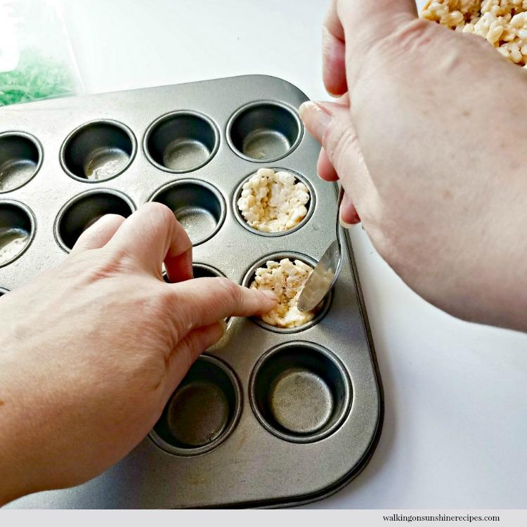Press Rice Krispie Treats into muffin pan