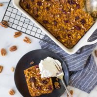 Pumpkin Baked Oatmeal with Maple and Pecans