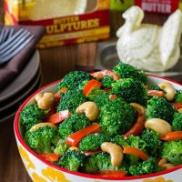 Broccoli with Red Pepper Garlic Butter Sauce