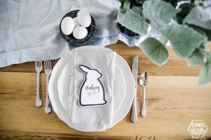 Modern Easter Tablescape with Printable Place Cards