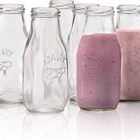 Set of 6 Milk Bottles Drinking Glasses
