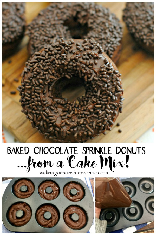Baked Chocolate Sprinkle Donuts in 6 hole donut pan.